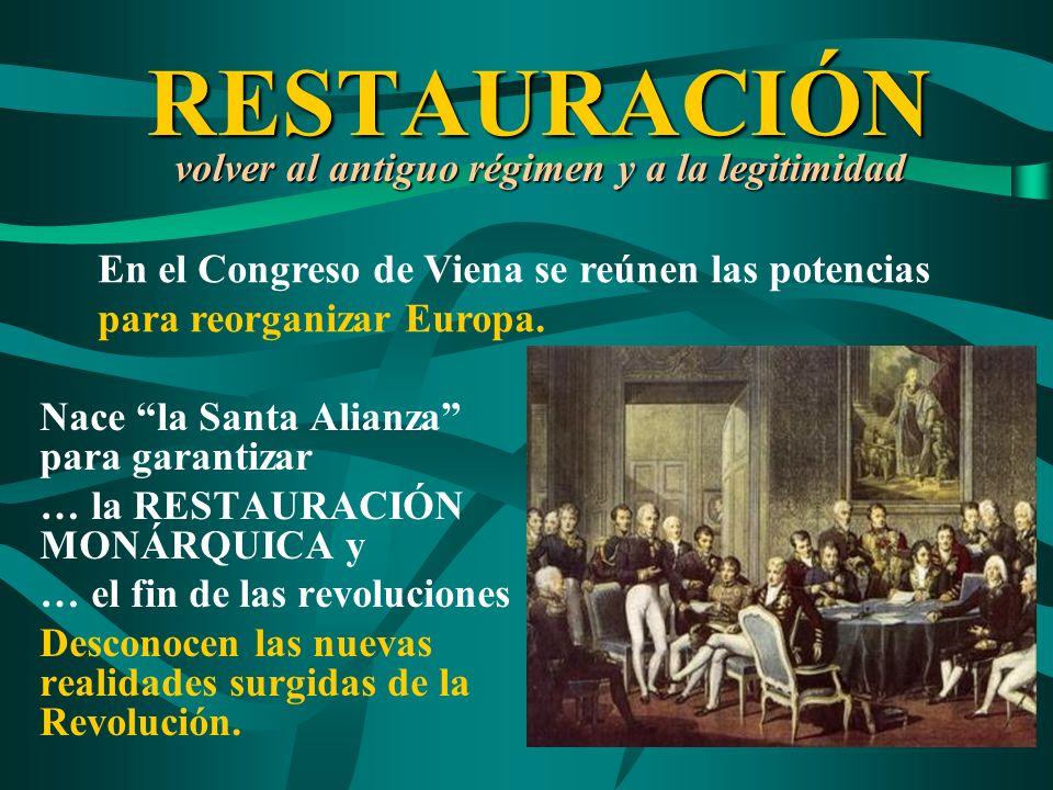 RESTAURACIÓN volver al antiguo régimen y a la legitimidad