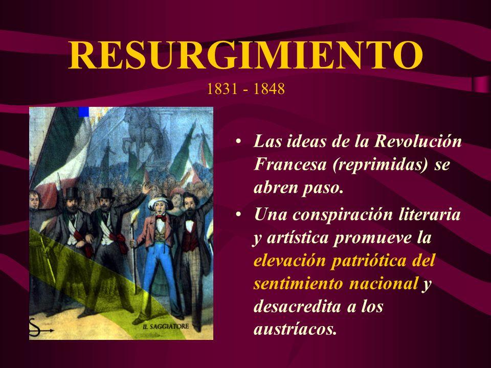 RESURGIMIENTO 1831 - 1848Las ideas de la Revolución Francesa (reprimidas) se abren paso.
