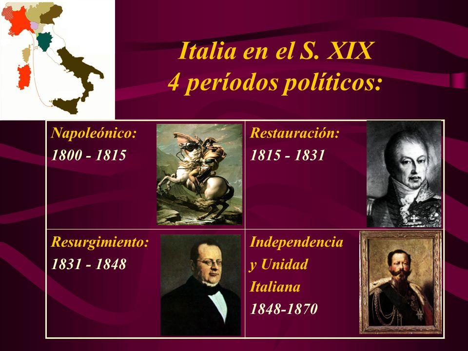 Italia en el S. XIX 4 períodos políticos: