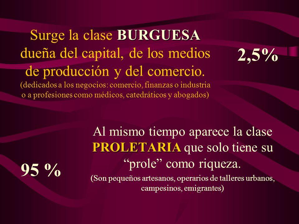 Surge la clase BURGUESA dueña del capital, de los medios de producción y del comercio. (dedicados a los negocios: comercio, finanzas o industria o a profesiones como médicos, catedráticos y abogados)