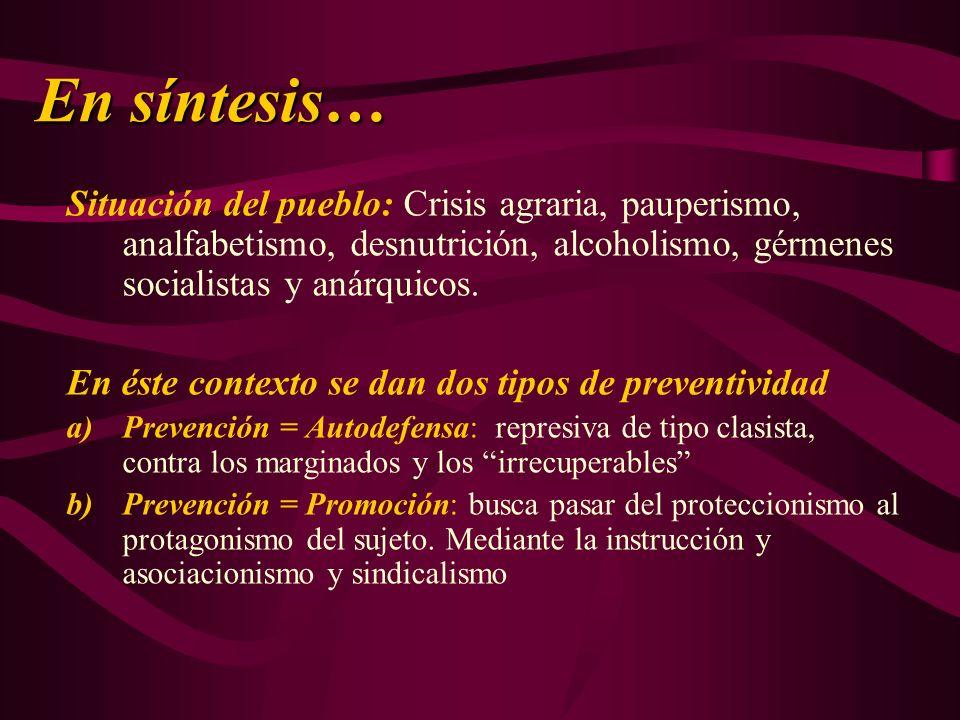 En síntesis… Situación del pueblo: Crisis agraria, pauperismo, analfabetismo, desnutrición, alcoholismo, gérmenes socialistas y anárquicos.