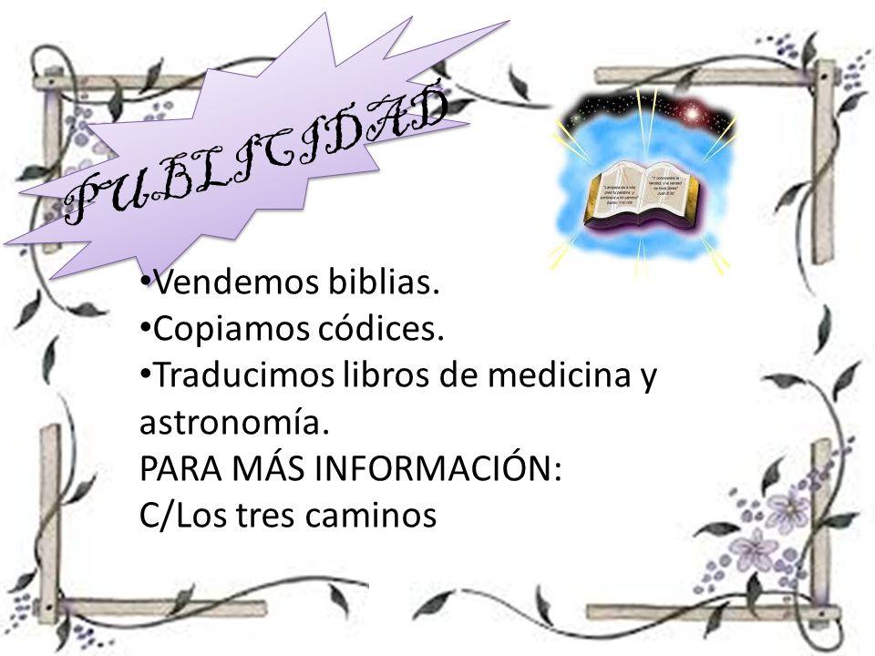 PUBLICIDAD Vendemos biblias. Copiamos códices.