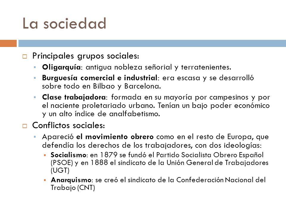 La sociedad Principales grupos sociales: Conflictos sociales:
