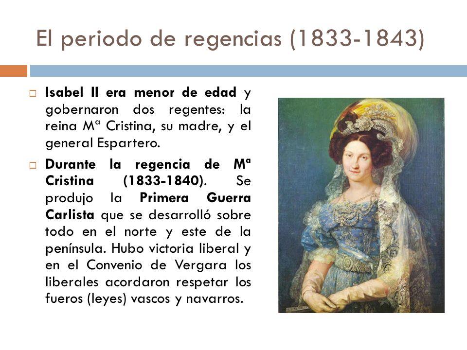 El periodo de regencias (1833-1843)