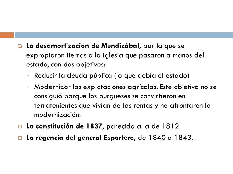 La desamortización de Mendizábal, por la que se expropiaron tierras a la iglesia que pasaron a manos del estado, con dos objetivos: