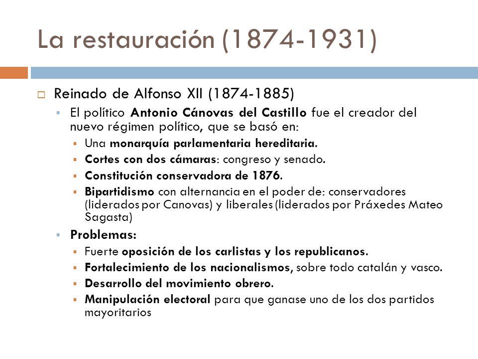 La restauración (1874-1931) Reinado de Alfonso XII (1874-1885)