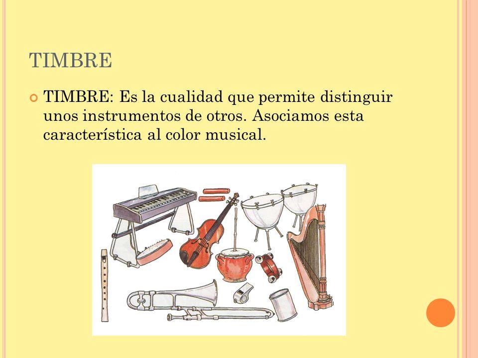 TIMBRE TIMBRE: Es la cualidad que permite distinguir unos instrumentos de otros.