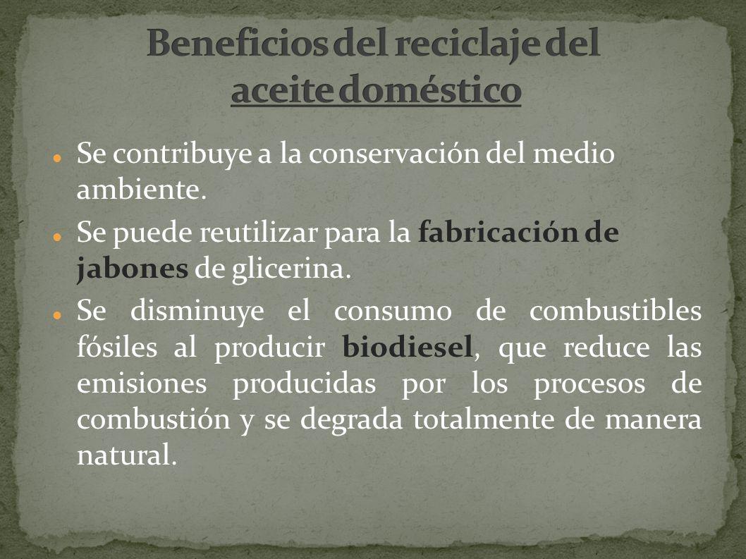 Beneficios del reciclaje del aceite doméstico