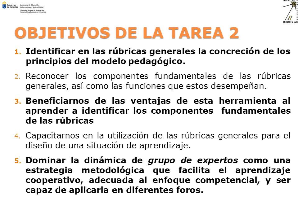 OBJETIVOS DE LA TAREA 2 Identificar en las rúbricas generales la concreción de los principios del modelo pedagógico.