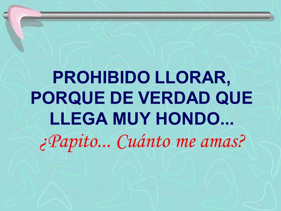 PROHIBIDO LLORAR, PORQUE DE VERDAD QUE LLEGA MUY HONDO. ¿Papito