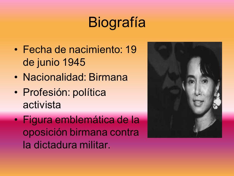 Biografía Fecha de nacimiento: 19 de junio 1945 Nacionalidad: Birmana