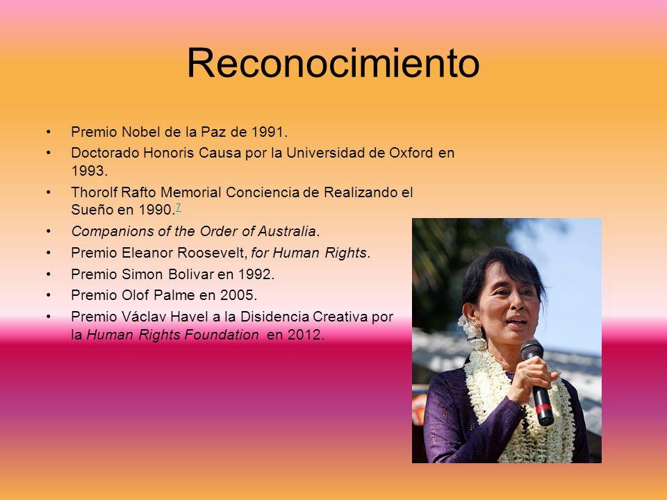 Reconocimiento Premio Nobel de la Paz de 1991.