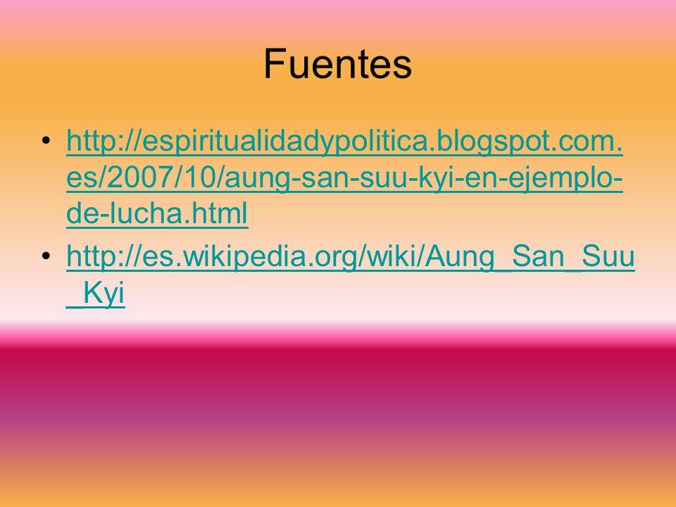 Fuentes http://espiritualidadypolitica.blogspot.com.es/2007/10/aung-san-suu-kyi-en-ejemplo-de-lucha.html.