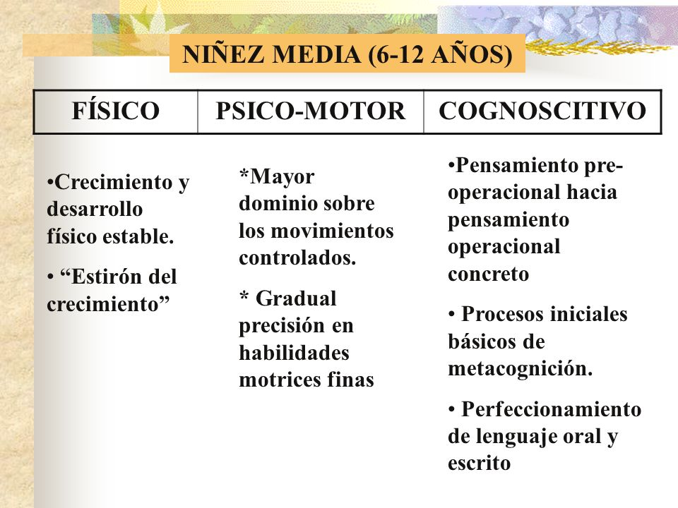 NIÑEZ MEDIA (6-12 AÑOS) FÍSICO PSICO-MOTOR COGNOSCITIVO