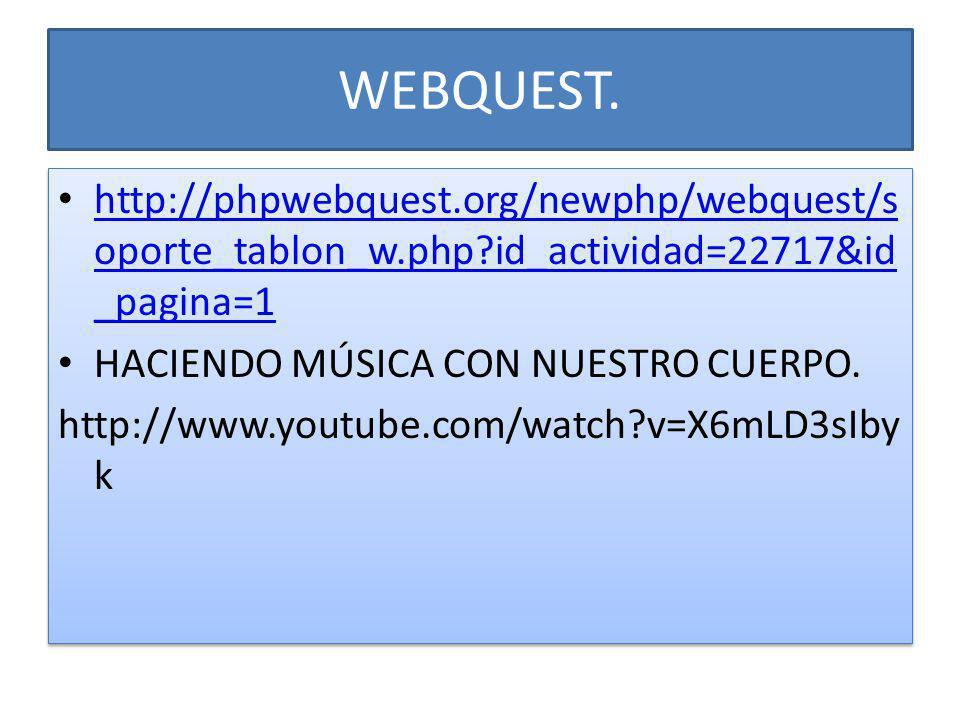 WEBQUEST. http://phpwebquest.org/newphp/webquest/soporte_tablon_w.php id_actividad=22717&id_pagina=1.
