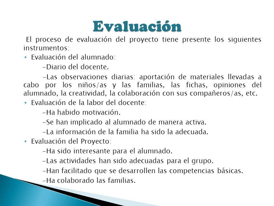 Evaluación El proceso de evaluación del proyecto tiene presente los siguientes instrumentos: Evaluación del alumnado: