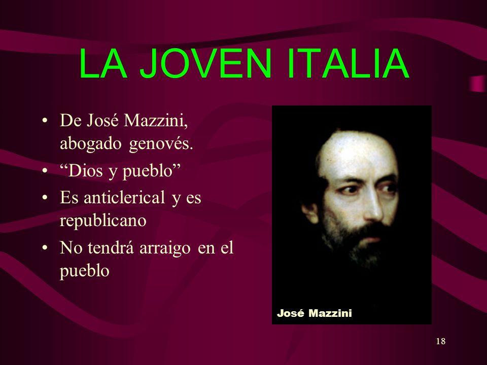 LA JOVEN ITALIA De José Mazzini, abogado genovés. Dios y pueblo