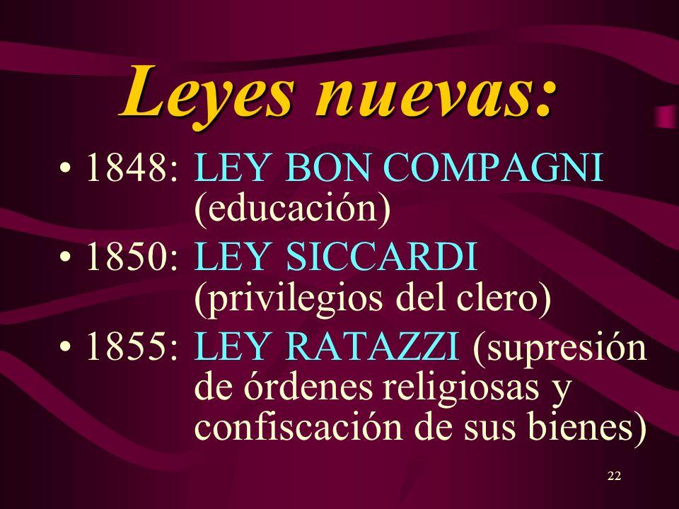 Leyes nuevas: 1848: LEY BON COMPAGNI (educación)