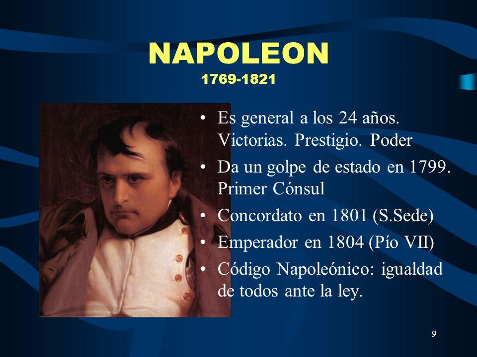 NAPOLEON 1769-1821 Es general a los 24 años. Victorias. Prestigio. Poder. Da un golpe de estado en 1799. Primer Cónsul.