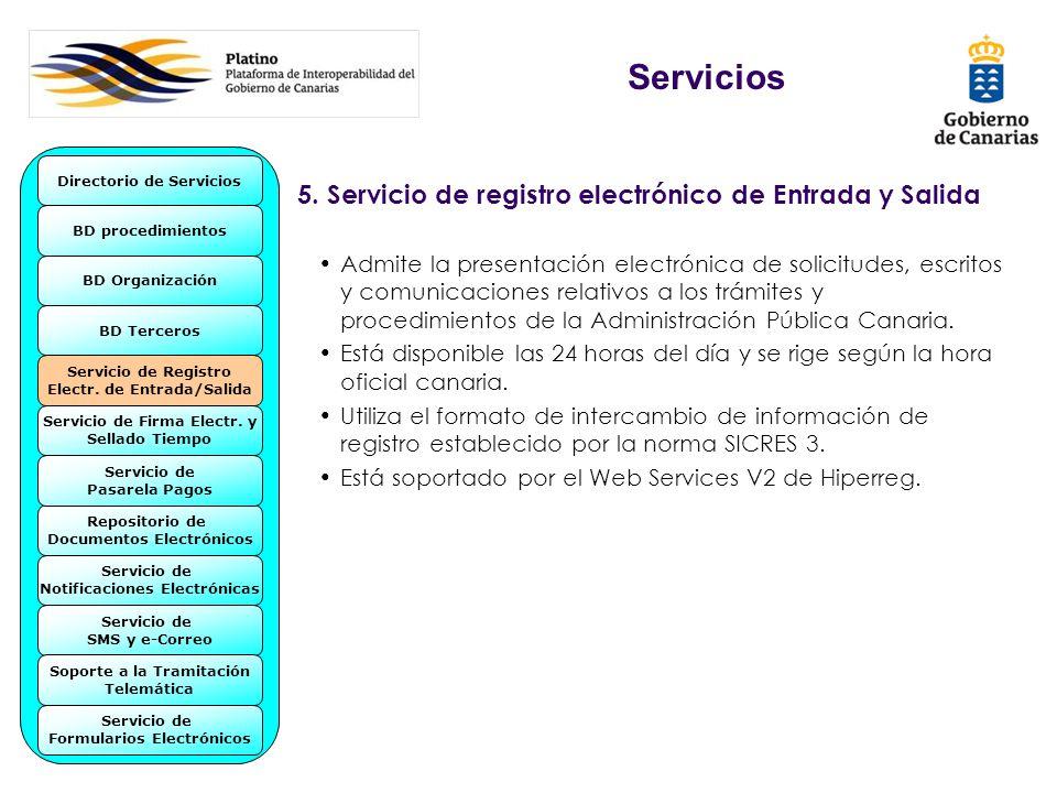 Servicios 5. Servicio de registro electrónico de Entrada y Salida