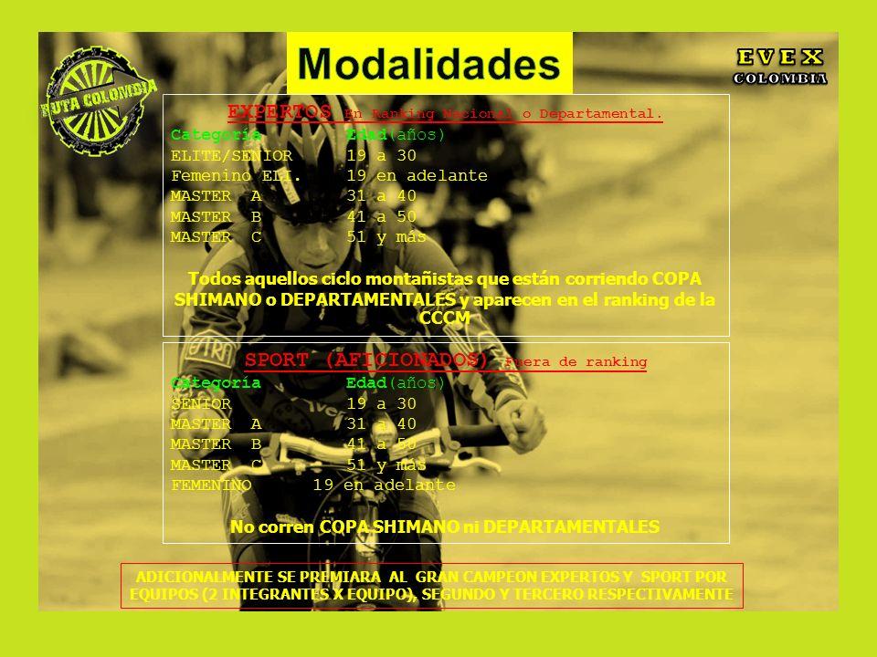 Modalidades E V E X EXPERTOS En Ranking Nacional o Departamental.