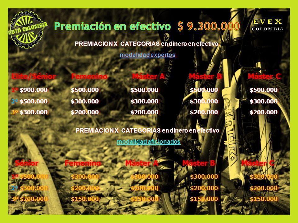 Premiación en efectivo $ 9.300.000