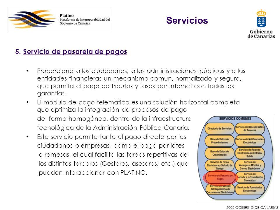 Servicios 5. Servicio de pasarela de pagos