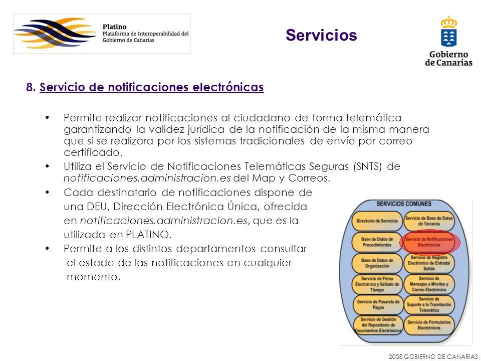 Servicios 8. Servicio de notificaciones electrónicas