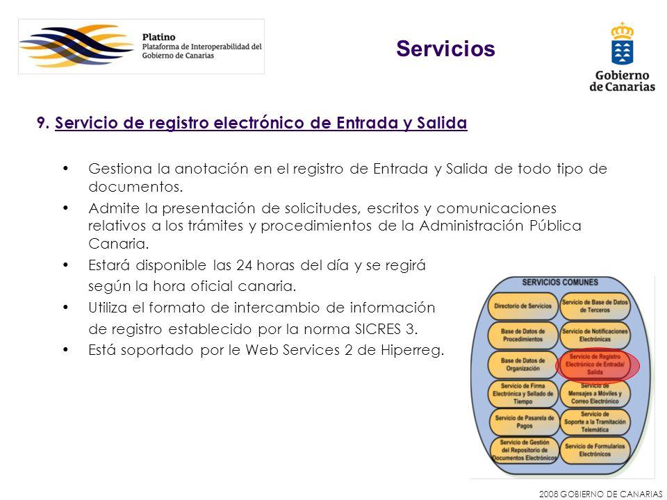Servicios 9. Servicio de registro electrónico de Entrada y Salida