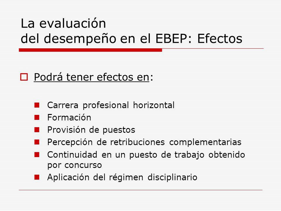 La evaluación del desempeño en el EBEP: Efectos