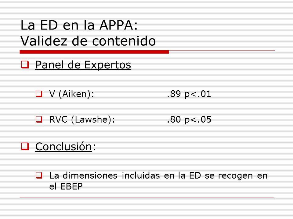 La ED en la APPA: Validez de contenido