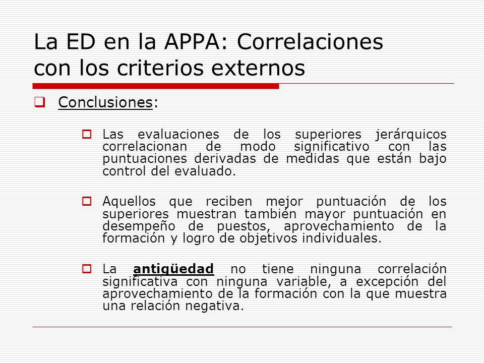 La ED en la APPA: Correlaciones con los criterios externos