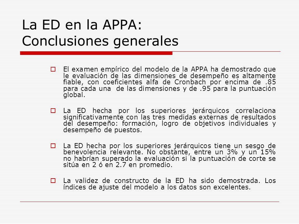 La ED en la APPA: Conclusiones generales