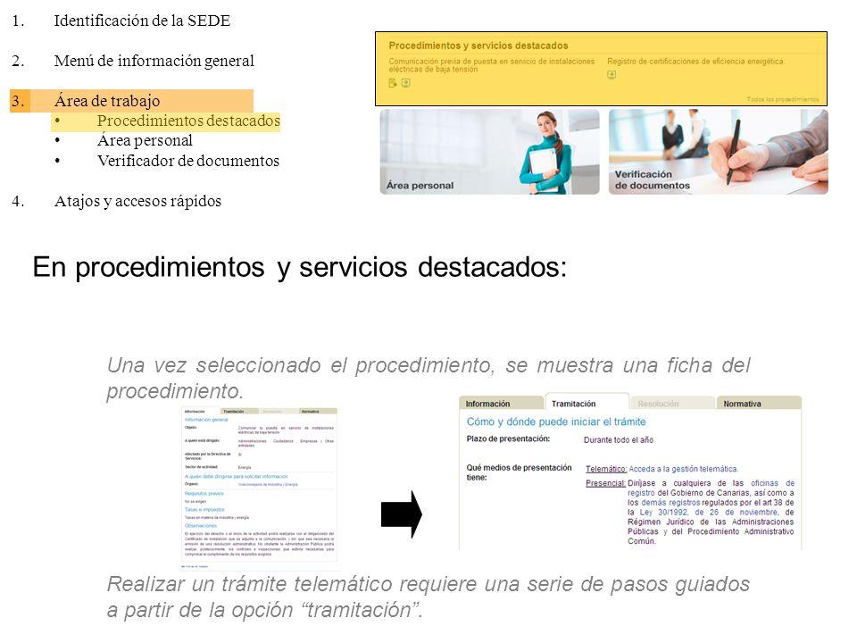 En procedimientos y servicios destacados: