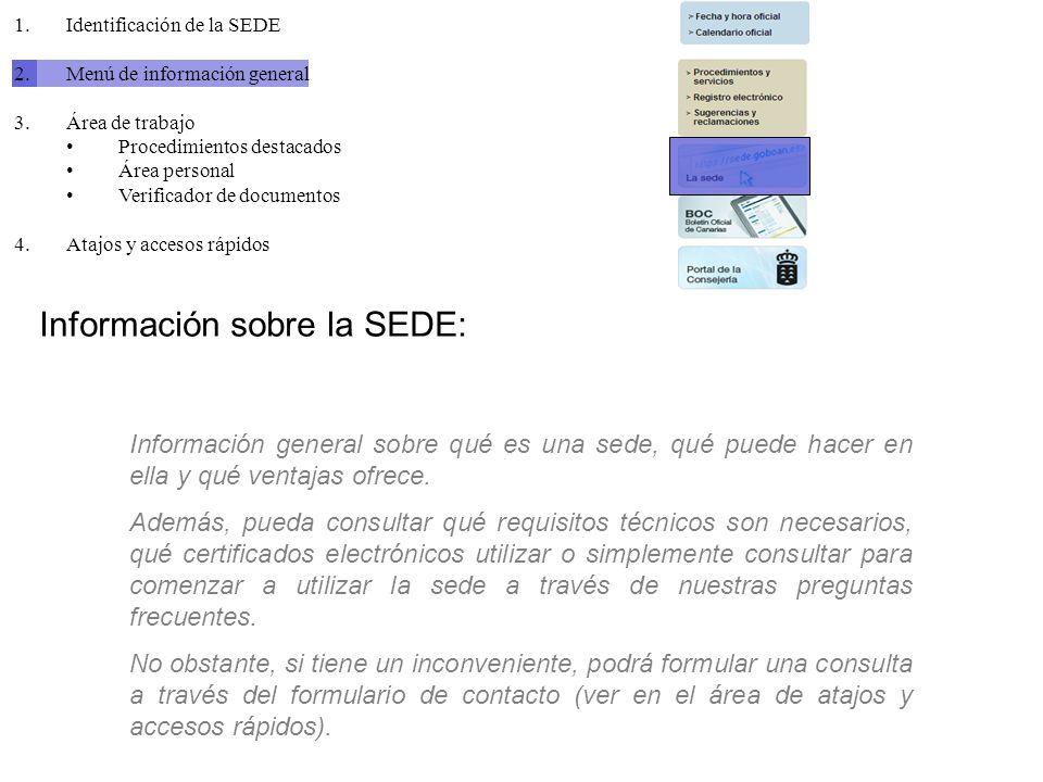 Información sobre la SEDE: