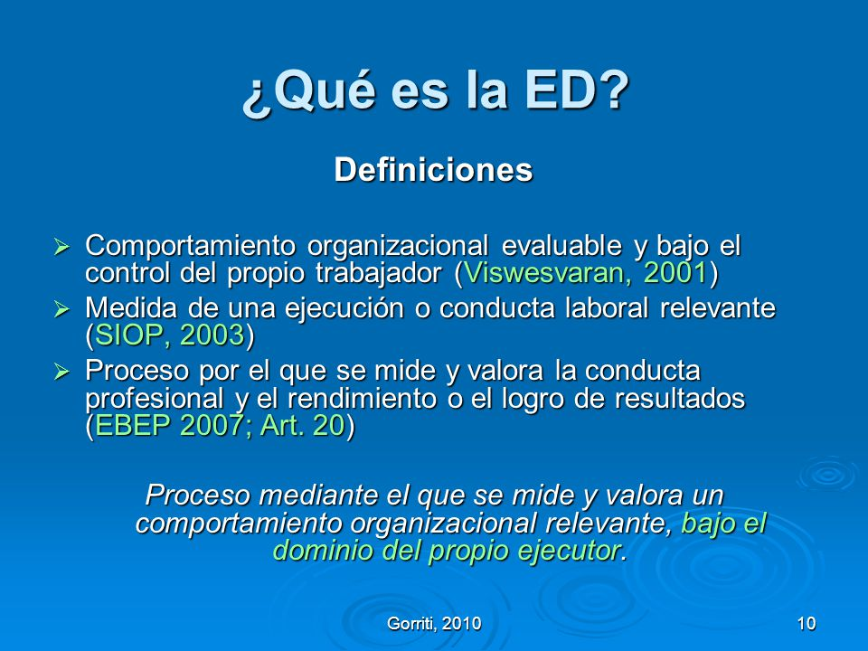¿Qué es la ED Definiciones