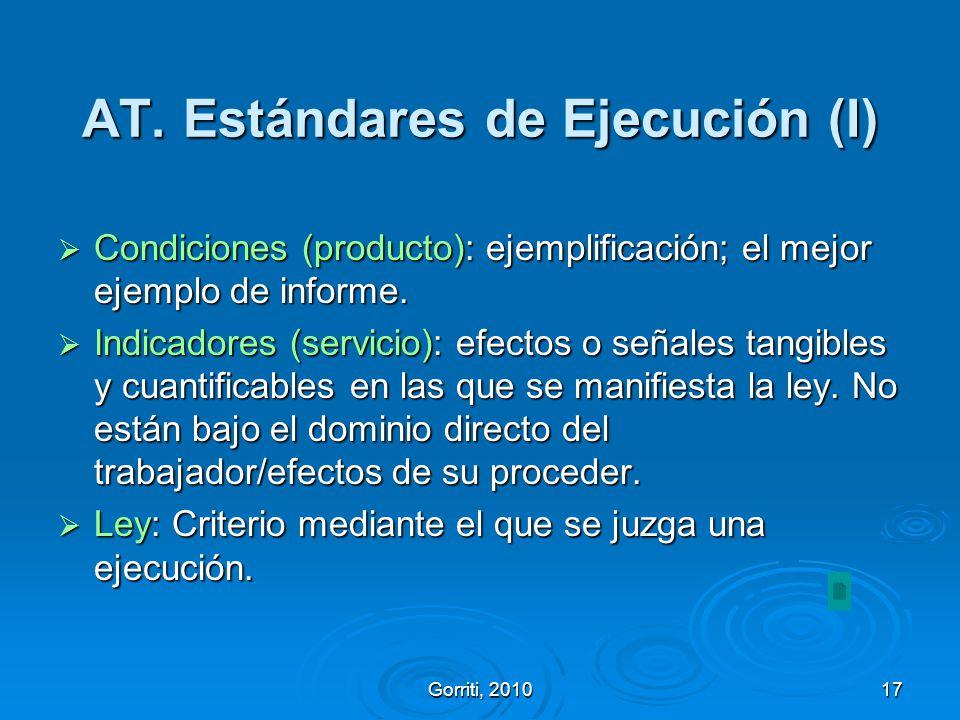 AT. Estándares de Ejecución (I)