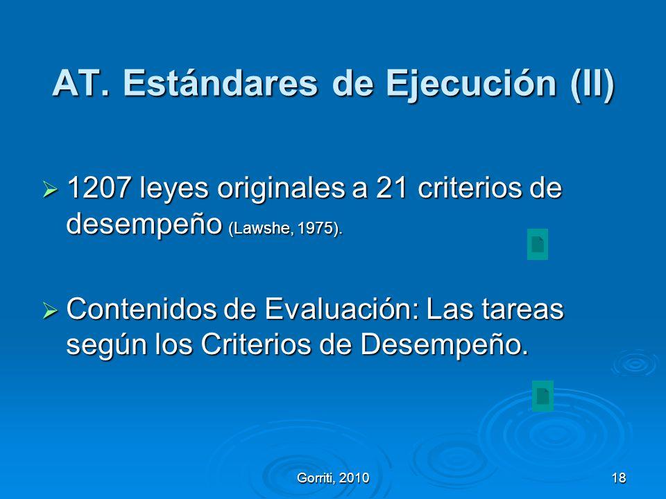 AT. Estándares de Ejecución (II)