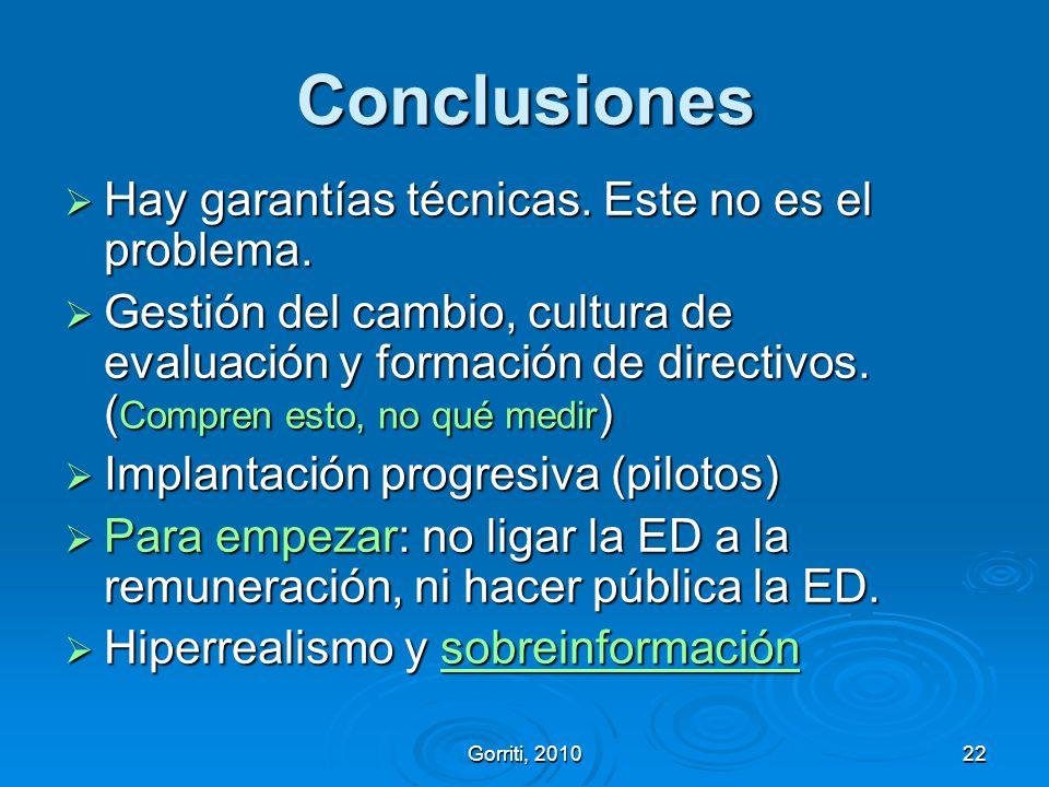 Conclusiones Hay garantías técnicas. Este no es el problema.