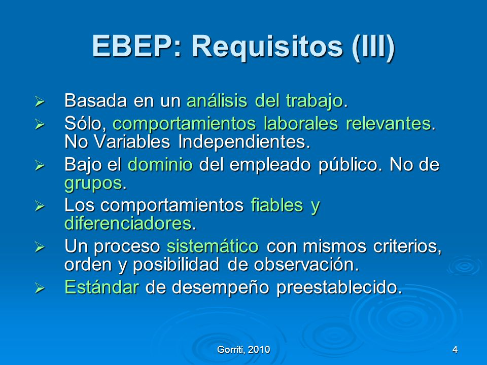 EBEP: Requisitos (III)