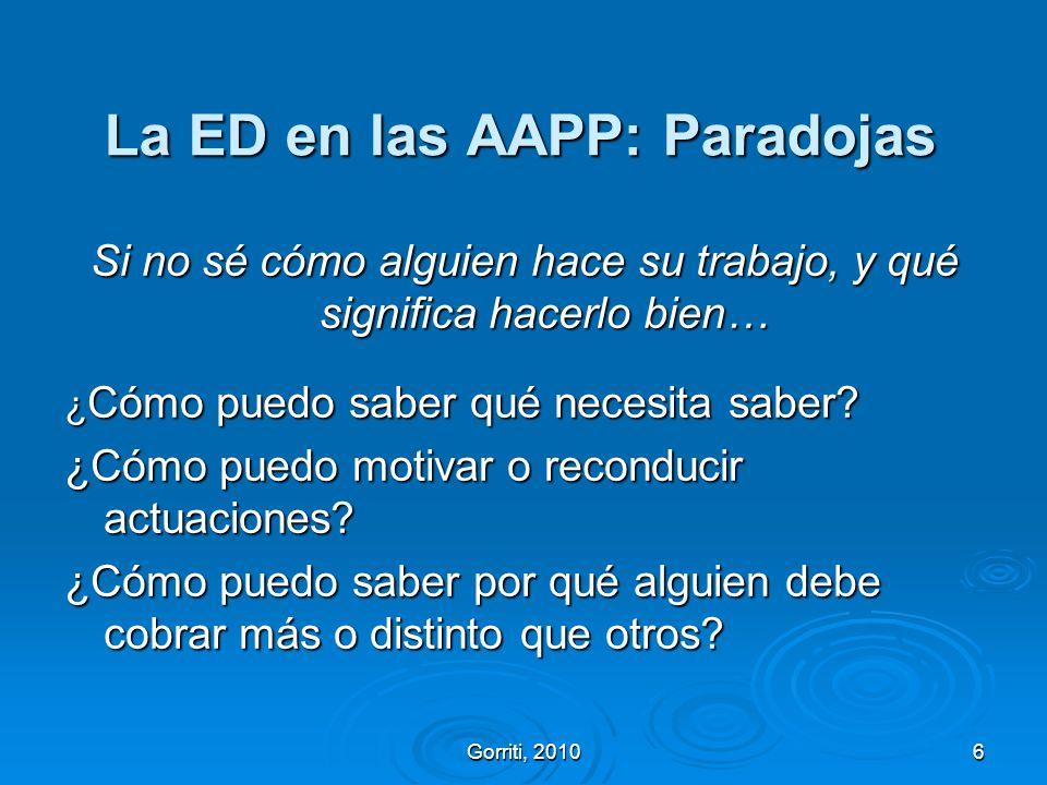La ED en las AAPP: Paradojas