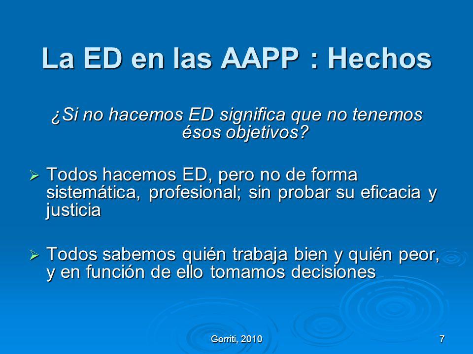 La ED en las AAPP : Hechos