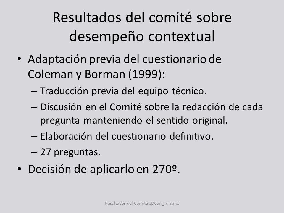 Resultados del comité sobre desempeño contextual