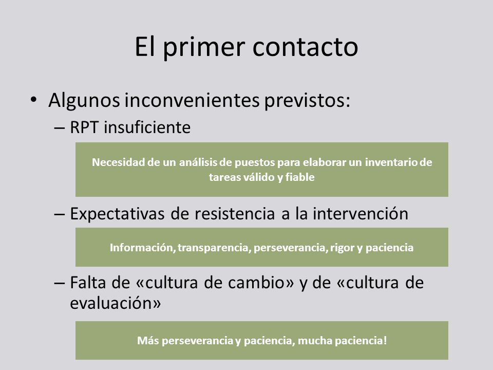 El primer contacto Algunos inconvenientes previstos: RPT insuficiente