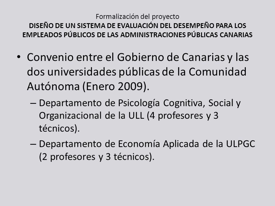 Formalización del proyecto DISEÑO DE UN SISTEMA DE EVALUACIÓN DEL DESEMPEÑO PARA LOS EMPLEADOS PÚBLICOS DE LAS ADMINISTRACIONES PÚBLICAS CANARIAS