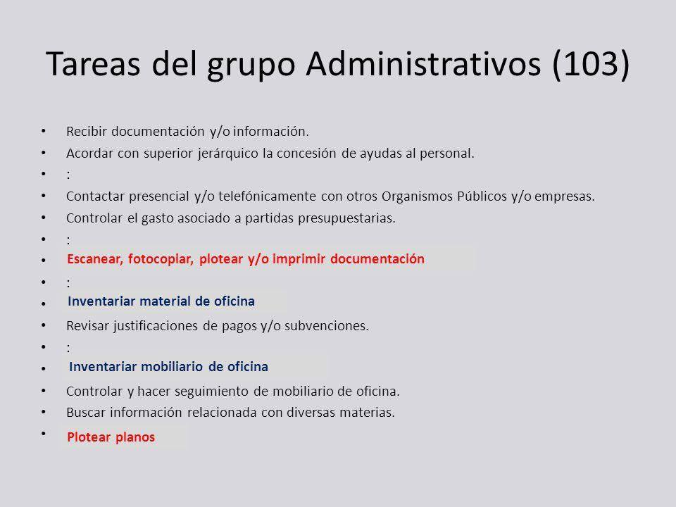 Tareas del grupo Administrativos (103)