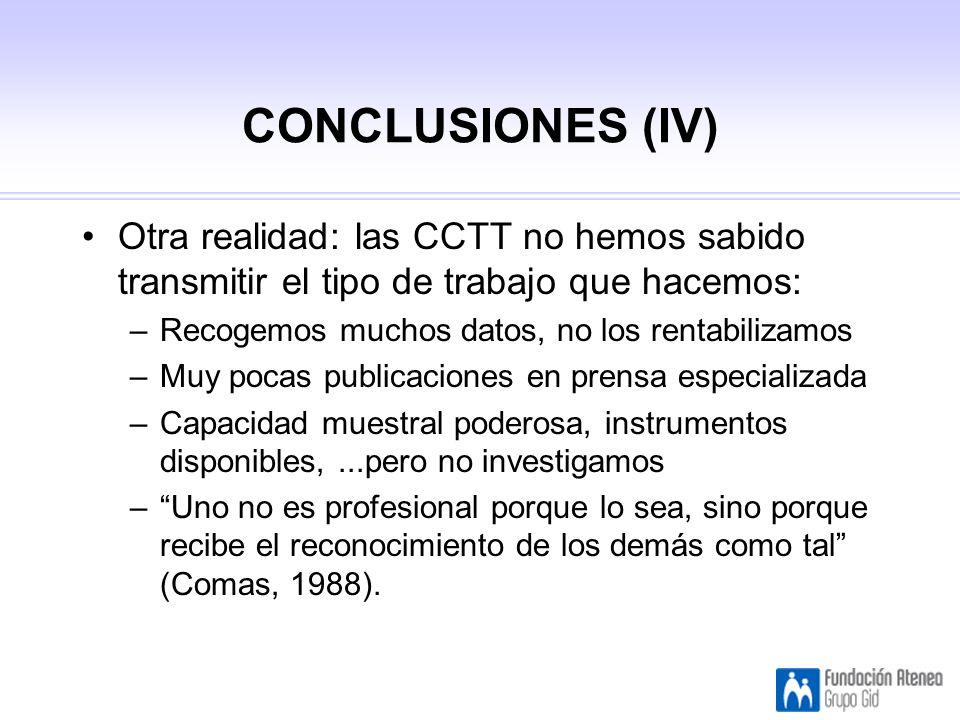 CONCLUSIONES (IV) Otra realidad: las CCTT no hemos sabido transmitir el tipo de trabajo que hacemos: