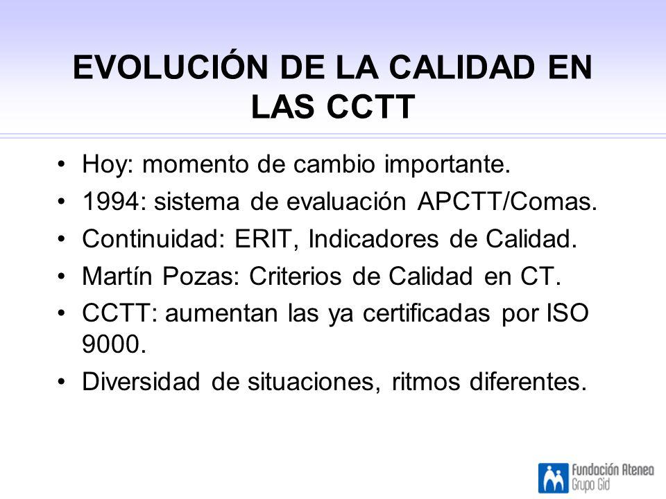 EVOLUCIÓN DE LA CALIDAD EN LAS CCTT