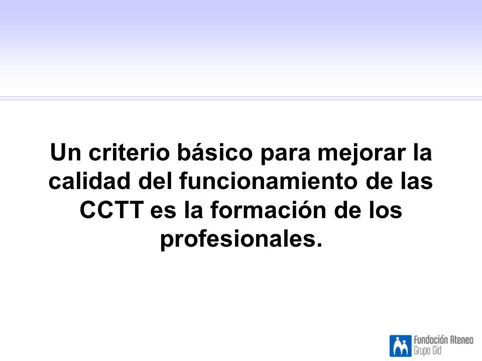 Un criterio básico para mejorar la calidad del funcionamiento de las CCTT es la formación de los profesionales.