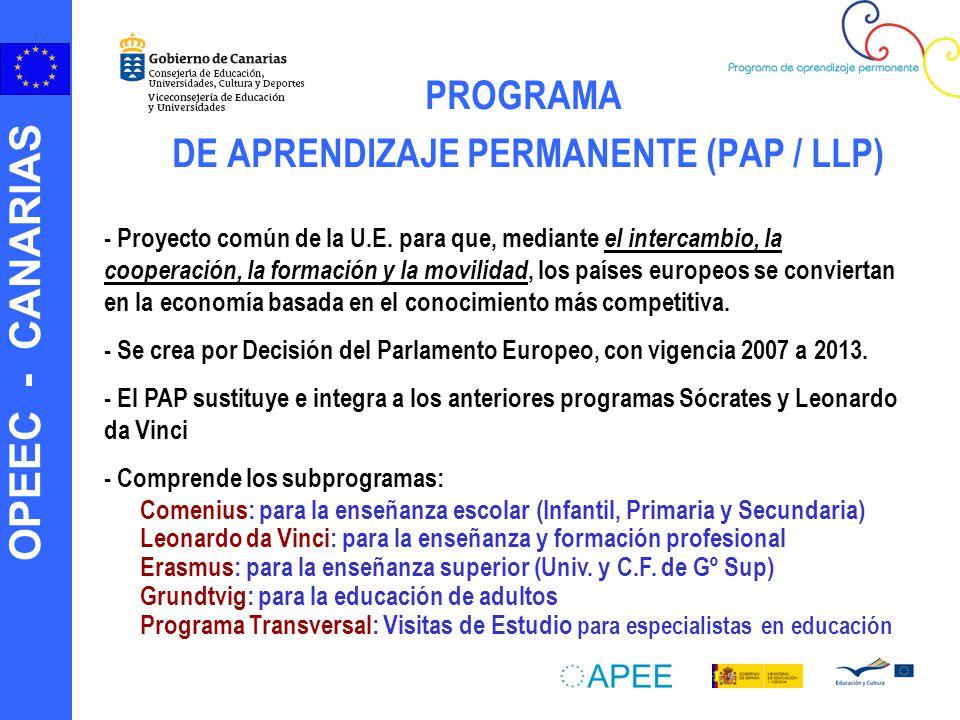 PROGRAMA DE APRENDIZAJE PERMANENTE (PAP / LLP)